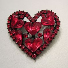 Red Rhinestone Heart Valentine Brooch in A Japanned Setting