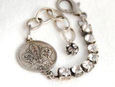 Vintage Rhinestone Assemblage Bracelet Silver Travel by delmarlady