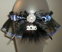 2016 Prom or Wedding Garter Periwinkle Silver and Black Sparkle Tulle Rhinestones Sparkle Glitz Feather Fur