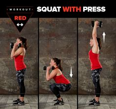 Here's how to do a squat with press: | This 30-Day Fitness Challenge Will Make You Feel Like A Badass