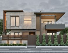 Elevation designed for client in South City, Ayali Khurd Modern Bungalow Exterior, Modern Exterior House Designs, Modern House Facades, Modern Houses, House Outside Design, House Front Design, Small House Design, 2 Storey House Design, Bungalow House Design