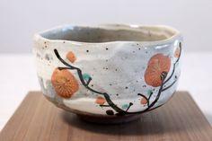 Mino yaki ware Japanese tea bowl Kurenai red plum wata chawan Matcha Green Tea //Manbo
