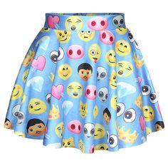 Blue Cute Ladies Funny Emoji Printed Chic Pleated Skirt ($14) ❤ liked on Polyvore