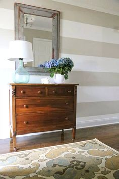 Revere pewter and dove white horizontal stripes in entryway
