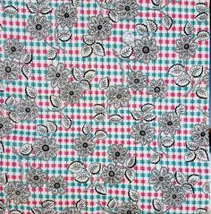 1940s Vintage Lace Print Cotton Sewing Fabric Pink Teal Black