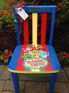 Painted children 39 s furniture on pinterest childs rocking for Kids chair with name
