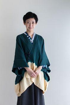 Kisaragi Poncho Linen ArimatsuTie Dye Matcha Green $135.50 #shibori #kimono #sousousf