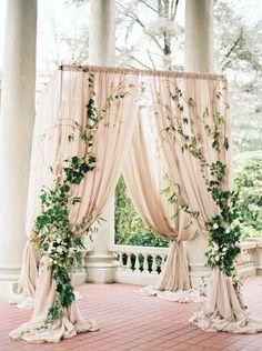 Draped Blush Wedding Arch with Ivy. What a beautiful wedding arch decoration idea! Love it!