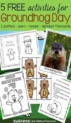 Groundhog Day theme activities and printables for preschool and kindergarten Groundhog Day is February – get 5 free activities to add to your preschool theme unit. Kindergarten Groundhog Day, Groundhog Day Activities, Free Activities, Holiday Activities, Toddler Activities, Preschool Themes, Kindergarten Activities, Classroom Activities, Free Preschool
