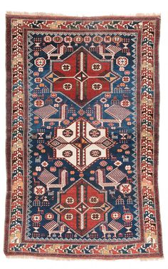 Akstafa Caucasus, second half century x Fantasy Rooms, Magic Carpet, Persian Carpet, Tribal Rug, Rugs On Carpet, Bohemian Rug, Auction, 19th Century, Turkish Carpets