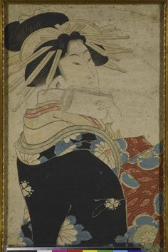 Colour woodblock print, vertical double oban, full-length portrait of a courtesan wearing a black coat with white flowers with a red under-robe, by Katsukawa Shunsen: Japan, 1806 - 1819