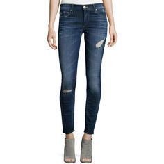 True Religion Halle Super-Skinny Jeans ($245) ❤ liked on Polyvore featuring jeans, dark authentic in, blue jeans, zipper skinny jeans, skinny jeans, distressed skinny jeans and distressed jeans