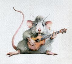 "Иллюстрация ""The Rats"" (""Rock'n'Roll Forever! Animal Paintings, Animal Drawings, Maus Illustration, Mouse Pictures, Moise, Cute Mouse, Watercolor Animals, Watercolor Art, Painting & Drawing"
