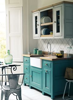 Bastide freestanding kitchen in South Bank and Skylon Grey… - Kitchen Pantry Cabinets Free Standing Kitchen Cabinets, Kitchen Pantry Cabinets, Kitchen Shop, Painting Kitchen Cabinets, Island Kitchen, Wood Cabinets, Easy Home Decor, Home Decor Kitchen, Kitchen Design