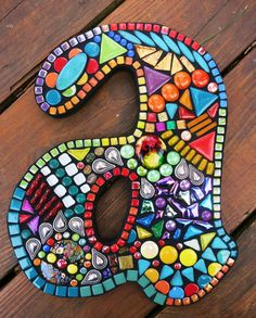 Custom mosaic letters/initials created by Tina @ Wise Crackin' Mosaics
