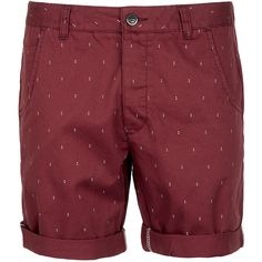 TOPMAN Burgundy Chino Dot Shorts found on Polyvore