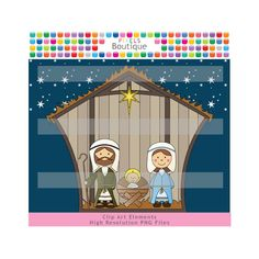 Nativity Christmas Clipart  (No. 098) 7 PNG Files Personal or Small Commercial Use Digital Clipart. $3.50, via Etsy.