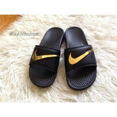 3b22abcb5498a7 Blue Nike Benassi Swoosh Gold Check Slides - Pre Order in 2019 ...
