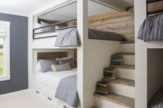 HGTV's Fixer Upper invites you to peek at this bunk room with four queen-sized bunk beds, stained shiplap paneling, iron railings and integrated stairs. Queen Bunk Beds, Bunk Beds Built In, Modern Bunk Beds, Bunk Beds With Stairs, Kids Bunk Beds, Full Size Bunk Beds, Adult Bunk Beds, Loft Spaces, Small Spaces