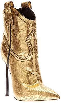 CASADEI Metallic Westernstyle Stiletto Boot - Lyst