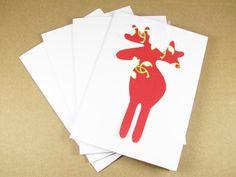 Moose Greeting Cards Swedish Scandinavian  Red by studioLISE, $7.50