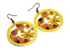 A Pair of Indian Brass Metal Floral Design Boho Hippie Danglers Earrings Krishna Mart India http://www.amazon.com/dp/B00UP16CWE/ref=cm_sw_r_pi_dp_47OCvb16B740Z