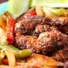 Blackened fish fajitas