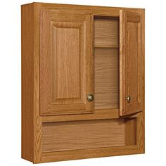 2 Door Bathroom Wall Wood Medicine Cabinet, Honey Oak