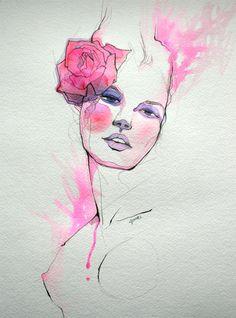 Juuri Art---quelques lignes, couleurs aquarelle, technique