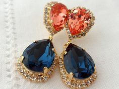 Navy blue and peach pink Chandelier earrings, Drop earrings, Dangle earrings, Bridal earrings, Swarovski earrings, Gold or silver Beauty with