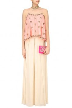 Arpita Mehta Peach Cami Top and Beige Palazzo Pants Set #happyshopping #shopnow #ppus