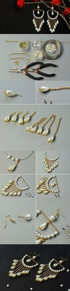 DIY White Pearl Beaded Chandelier Earrings with Golden Chain