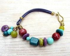 Beaded Leather Bracelet, Purple Chartreuse Teal Turquoise Plum Burgundy, Geometric Beads and Charms - BacaCaraJewelry on Etsy