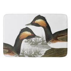 Audubon Grebe Birds Animals Wildlife Bath Mat - #customizable create your own personalize diy