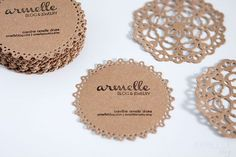 "DIY doily business cards...I have a stamp that I got free from Vistaprint and could use the Cricut to cut out some ""doily"" shapes. GREAT idea"