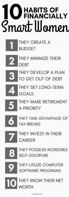 10 Habits of Financially Smart Women #habitsof #successfulwomen #moneytips