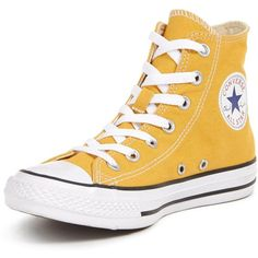 Converse Seasonal Hi Trainer ($72) ❤ liked on Polyvore featuring shoes, sneakers, american shoes, yellow canvas sneakers, star sneakers, high top trainers and converse shoes