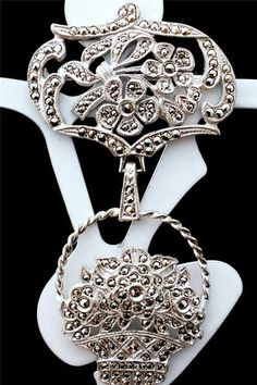 Antique Sterling Silver Marcasite Signed KD Kimler Daniel Flower Brooch Pin | eBay
