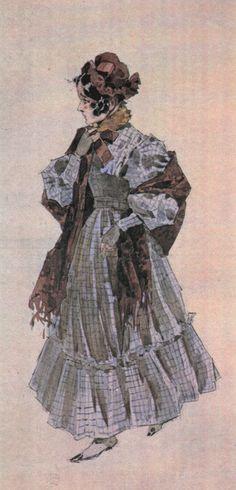 Costume sketch for Mimì. La Bohéme.  Première february 1, 1896 at Teatro Regio, Turin.