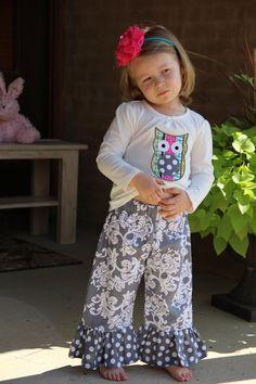 Girls ruffle pants by PinkPumpkinShop on Etsy, $22.00