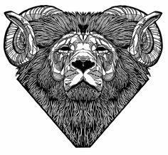 Monochrome geometric lion head with ram horns - line ink