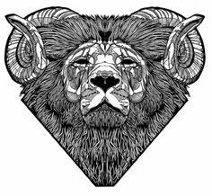 Monochrome geometric lion head with ram horns - line ink