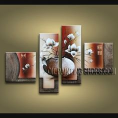 Colorful Contemporary Wall Art Artist Oil Painting Stretched Ready To Hang Tulip Flower. This 4 panels canvas wall art is hand painted by Bo Yi Art Studio, instock - $145. To see more, visit OilPaintingShops.com