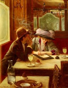 """books0977: """"La Lettre (1908). Jean Béraud (French, 1849–1935). Oil on canvas. Béraud was a student of Léon Bonnat, and exhibited his paintings at the Salon for the first time in 1872. He painted many scenes of Parisian daily life during the Belle..."""