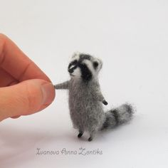 Needle felted raccoon, raccoon toy, felting, realistic animals, miniature animal, tiny felted raccon, animals for dollhouse, cute raccoon by Zontiks on Etsy https://www.etsy.com/ca/listing/244679877/needle-felted-raccoon-raccoon-toy                                                                                                                                                                                 More