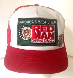 RED MAN Chewing Tobacco Vtg Mesh Snapback Trucker Hat Cap Made in USA Snuff Chew #Redman #Chew #Tobacco #Trucker #Snapback
