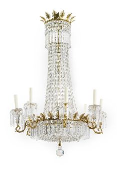 A Regency lacquered-brass and cut-glass eight-light chandelier circa 1810 | Lot | Sotheby's