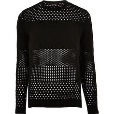 Black mesh knit jumper