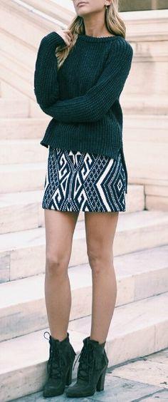 Jacquard mini skirt.