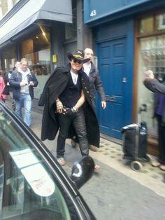 Adam arriving at Rough Trade Records